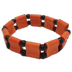 Orange and Black Double Hole Stretch Bracelet