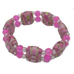 Pink Double Hole Paper Bead Stretch Bracelet